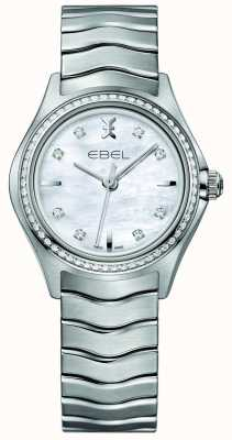 EBEL Vague 66 diamant sertie de quartz 30mm nacre montre femme 1216194