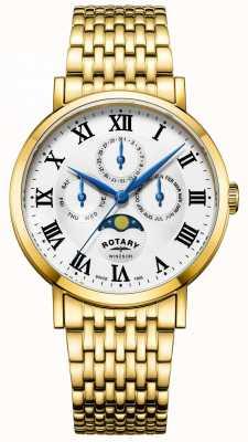 Rotary Mens windsor moonphase montre bracelet plaqué or GB05328/01