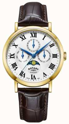 Rotary Mens windsor moonphase montre bracelet en cuir GS05328/01