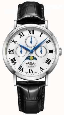 Rotary Mens windsor moonphase jour date montre bracelet en cuir noir GS05325/01