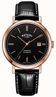 Rotary Mens windsor montre ton or boîtier noir cadran bracelet en cuir GS05319/04
