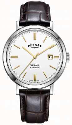 Rotary Mens windsor montre argent ton boîtier cadran blanc bracelet en cuir GS05315/02