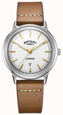 Rotary Mens avenger watch argent ton boîtier en cuir brun GS05340/02