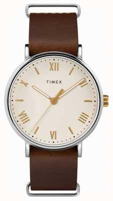 Timex Mens 41mm southview bracelet en cuir brun bracelet crème TW2R80400
