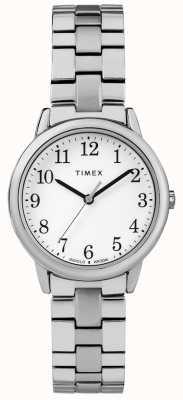 Timex Womens 31mm bande expéditive en acier inoxydable cadran blanc TW2R58700