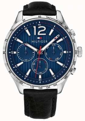 Tommy Hilfiger Montre chronographe gavin pour homme bracelet en cuir noir 1791468