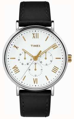 Timex Mens 41mm southview bracelet en cuir noir cadran blanc TW2R80500