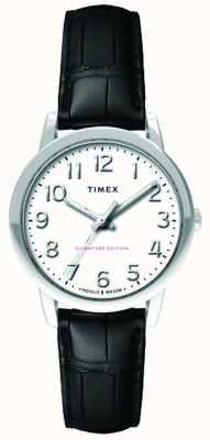 Timex Womens 30mm facile lecteur noir croc bracelet blanc cadran TW2R65300