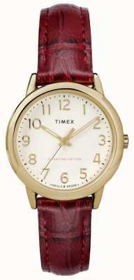 Timex Womens 30mm facile lecteur bourgogne croc bracelet crème cadran TW2R65400