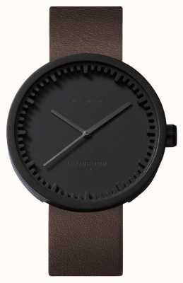 Leff Amsterdam Tube montre d38 boîtier noir bracelet en cuir marron LT71012