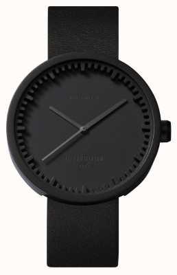 Leff Amsterdam Tube montre d42 boîtier noir bracelet en cuir noir LT72011