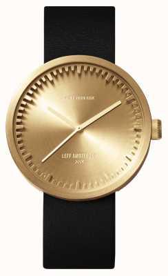 Leff Amsterdam Tube montre d42 boîtier en laiton bracelet en cuir noir LT72021