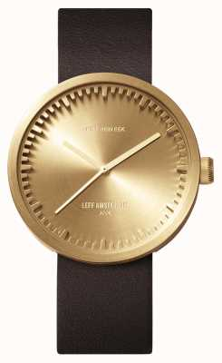 Leff Amsterdam Tube montre d42 boîtier en laiton bracelet en cuir marron LT72022