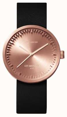Leff Amsterdam D38 boîtier en or rose bracelet en cuir noir LT71031