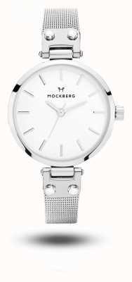Mockberg Elise petite maille en acier inoxydable bracelet blanc cadran MO402