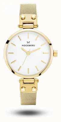 Mockberg Livia petite or pvd plaqué bracelet en maille blanc cadran MO401