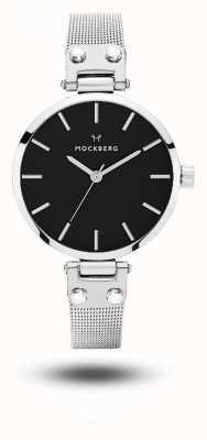 Mockberg Elise petite noir bracelet en maille d'acier inoxydable cadran noir MO404