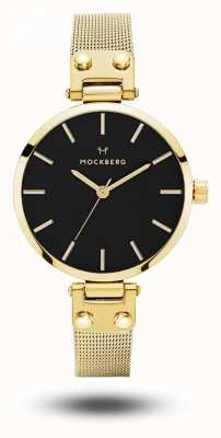 Mockberg Livia petite noir or pvd plaqué bracelet en maille bracelet noir MO403