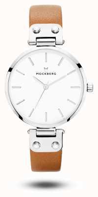 Mockberg Cadran en cuir marron Wera cadran blanc MO1006