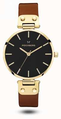 Mockberg Cadran noir, bracelet marron noir MO114