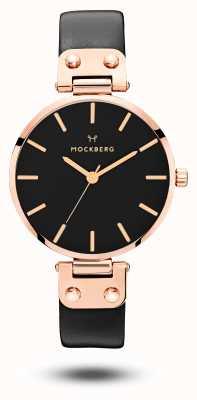 Mockberg Bracelet en cuir noir plaqué or rose Sigrid MO110