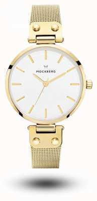 Mockberg Livia or pvd plaqué bracelet en maille blanc cadran MO1601