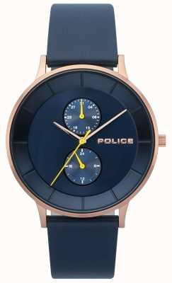 Police Montre à bracelet en cuir berkeley bleu pour homme 15402JSR/03