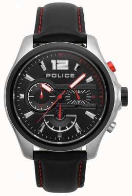 Police Mens denver noir et bracelet en cuir rouge 15403JSTB/02