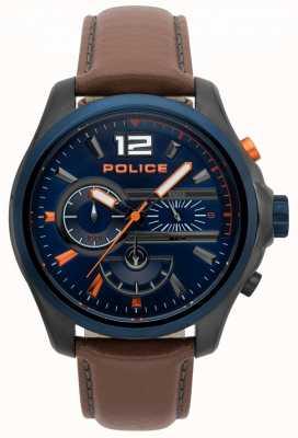 Police Montre denver en cuir marron pour homme 15403JSUBL/03
