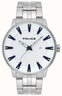 Police Montre à cadran blanc en acier inoxydable pour homme 15391JS/04M