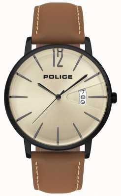 Police Montre homme en cuir marron vert 15307JSB/07