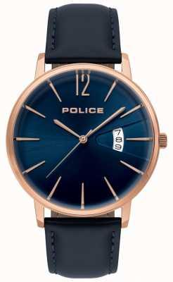 Police Montre en cuir bleu de vertu masculine 15307JSR/03