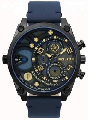 Police Montre à bracelet en cuir bleu vigour pour homme 15381JSB/61