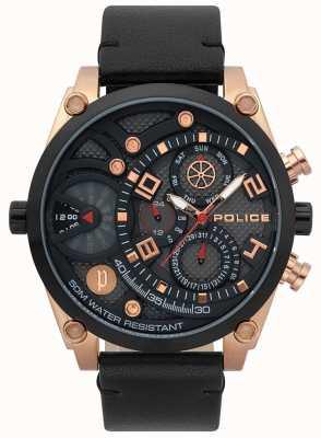Police Mens vigor bracelet en cuir noir 15381JSRB/61