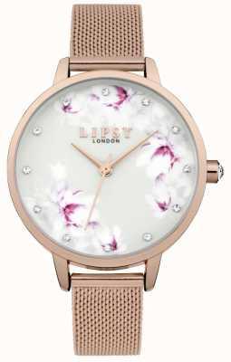 Lipsy Montre à cadran fleuri en maille or rose pour femme LP577