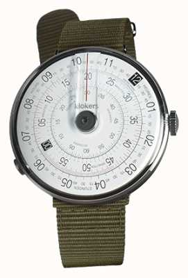 Klokers Klok 01 noir montre tête lichen vert textile unique sangle KLOK-01-D2+KLINK-03-MC2