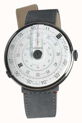 Klokers Klok 01 noir tête de montre gris alcantara strait sangle unique KLOK-01-D2+KLINK-04-LC11