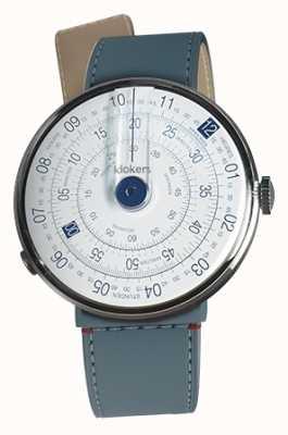 Klokers Klok 01 bleu tête de montre blue jean strait single strap KLOK-01-D4.1+KLINK-04-LC10
