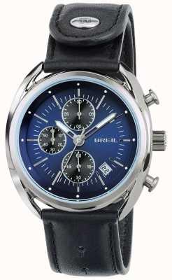 Breil Chronographe acier inoxydable Beaubourg cadran bleu bracelet noir TW1528