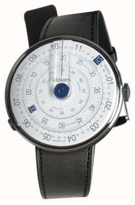 Klokers Klok 01 tête de montre bleue bracelet simple en satin noir KLOK-01-D4.1+KLINK-01-MC1