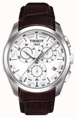 Tissot Coutourier chronographe homme cadran blanc bracelet en cuir marron T0356171603100
