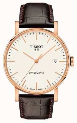 Tissot Mens every swissmatic bracelet en cuir plaqué or rose T1094073603100