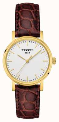 Tissot Womens everytime cuir marron plaqué or suisse T1092103603100