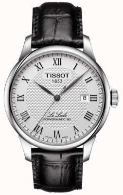Tissot Mens le locle powermatic 80 cadran argent bracelet en cuir noir T0064071603300