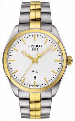 Tissot Bracelet homme pr100 en acier inoxydable plaqué or date T1014102203100