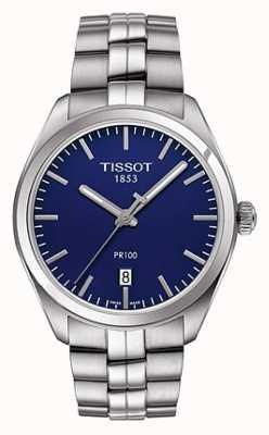 Tissot Bracelet homme en acier inoxydable pr100 bleu T1014101104100