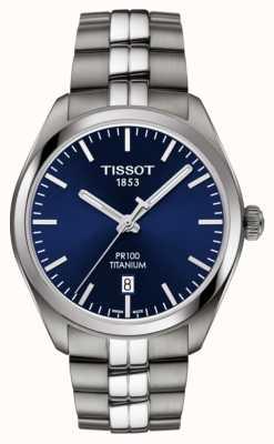 Tissot Hommes pr100 titane bleu cadran quartz T1014104404100