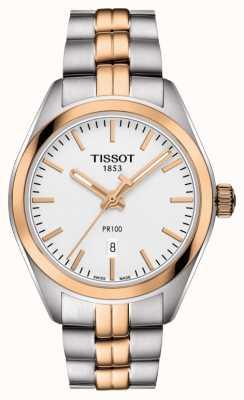 Tissot Womens pr100 deux tons pvd plaqué or date T1012102203101