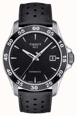 Tissot Mens v8 swissmatic cadran noir bracelet en cuir noir T1064071605100