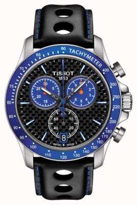 Tissot Mens v8 cadran bleu alpine en fibre de carbone cadran en cuir noir T1064171620101